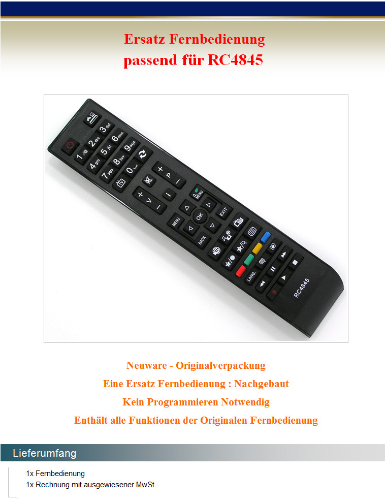 ersatz fernbedienung f r vestel rc4845 finlux sharp telefunken tv remote control ebay. Black Bedroom Furniture Sets. Home Design Ideas