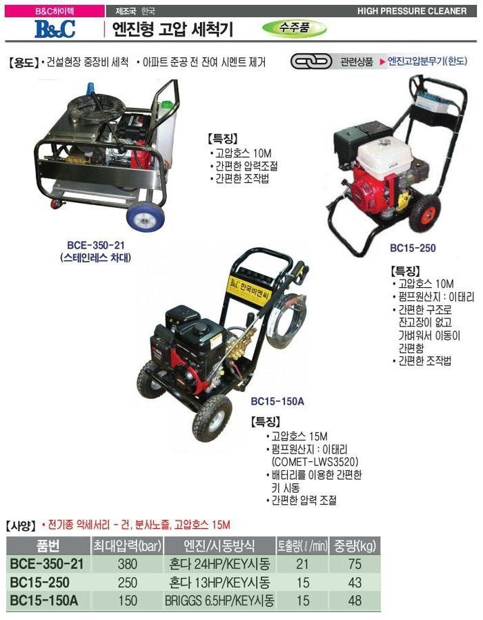 고압세척기 (BC-15-250) 비엔씨하이텍 제조업체의 산업용청소기/고압세척기 브랜드별 가격비교 및 판매정보 소개