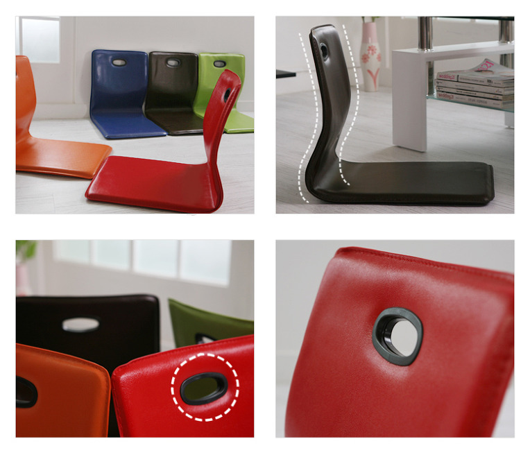 Floor chair sitting faux leather cushion japanese tatami for Asian floor chair
