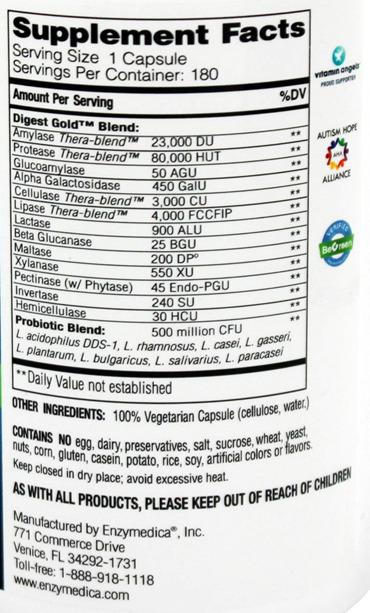 엔지메디카 소화효소+장유익균 Digest Gold + Probiotic Enzymedica